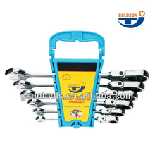 Fast Delivery 6 Pcs Plastic Rack Flexible Ratchet Wrench Set/Spanner Set
