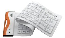 JK-10101 Mini Double-color Bluetooth Flexible silicone keyboard cover,silicone rubber keyboard