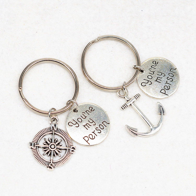 2 pieces couple keychains you are my person letter engraved logo anchor compass customized promotional gift