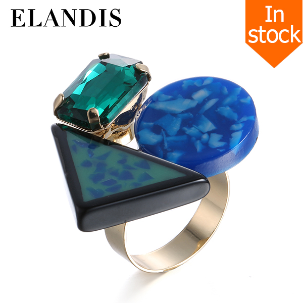 E-ELANDIS Geometric resin ring adjustable copper fashion rings for women 2015 gold plated metal crystal ring bijuteria bague
