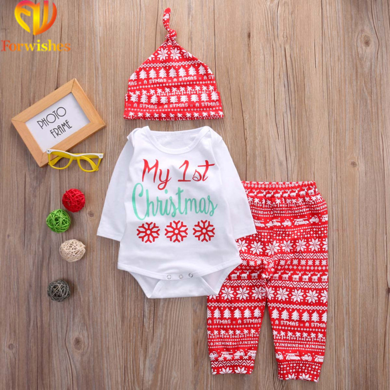 Hot Sale Newborn Baby Boys And Girls Clothes Set Cotton Christmas Outfits Hats Romprs Pants 3 Pcs Clothes Set