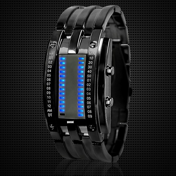 black metal strap stylish mens binary watch for wholesale