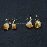 LS-D1675 New! Natural yellow citrine pendant earrings, raw yellow citrine earrings