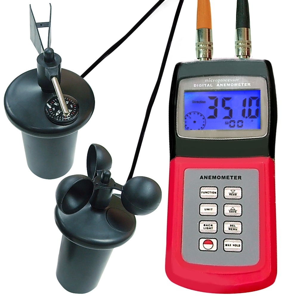 Digital Multi-function Portable Thermo Anemometer Air Weather Meter Wind Direction with CUP Type Sensor Probe