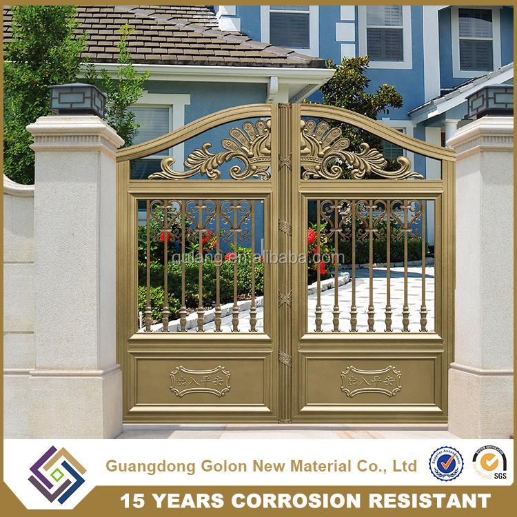 Security Ornamental Powder Coated models of gates and iron fence, indian house main gate designs
