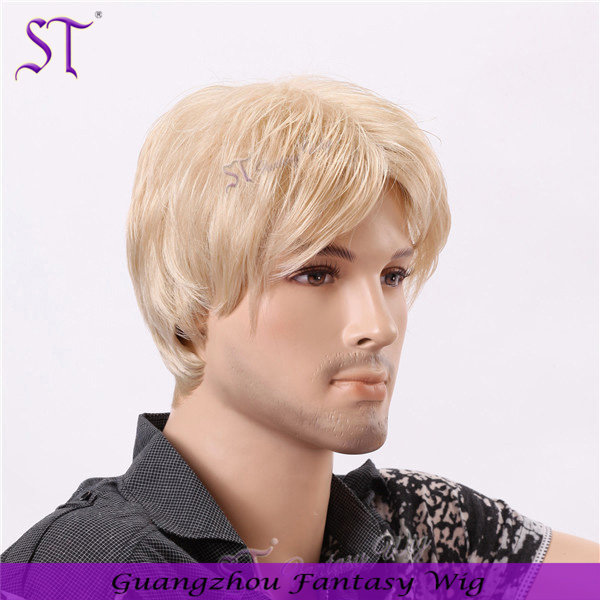 Wholesale trendy short platinum blonde synthetic hair wig for young men