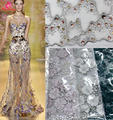 3D sequin lace fabric white nice lace fabric with 3D flowers bridal lace textile