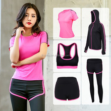 Lady's spring autumn fitness gym sport wear 5 pieces yoga wear