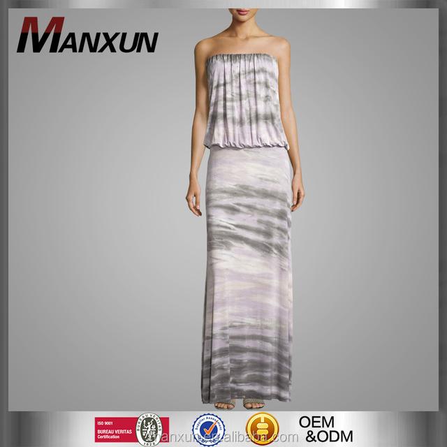 Hot Sale Women Strapless Dress Sexy Women Long Maxi DressSpecial Marble Printing