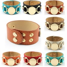 Women Monogram Blank Wrap Bracelet Leather Cuff Engraved Round Snap Bracelet For Men