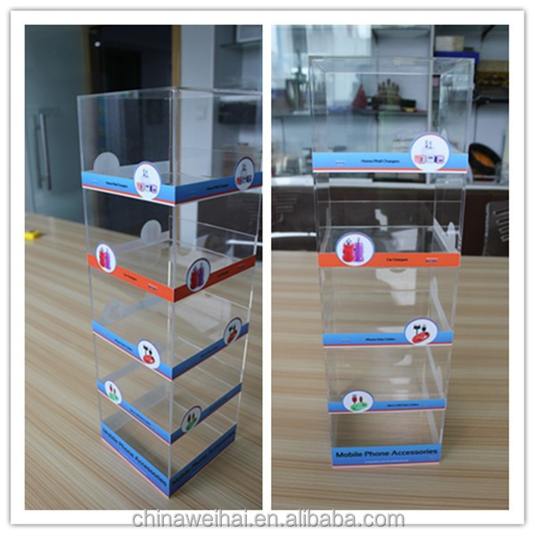 5-Tier Clear Acrylic Cellphone Accessory Car Charger Countertop Display
