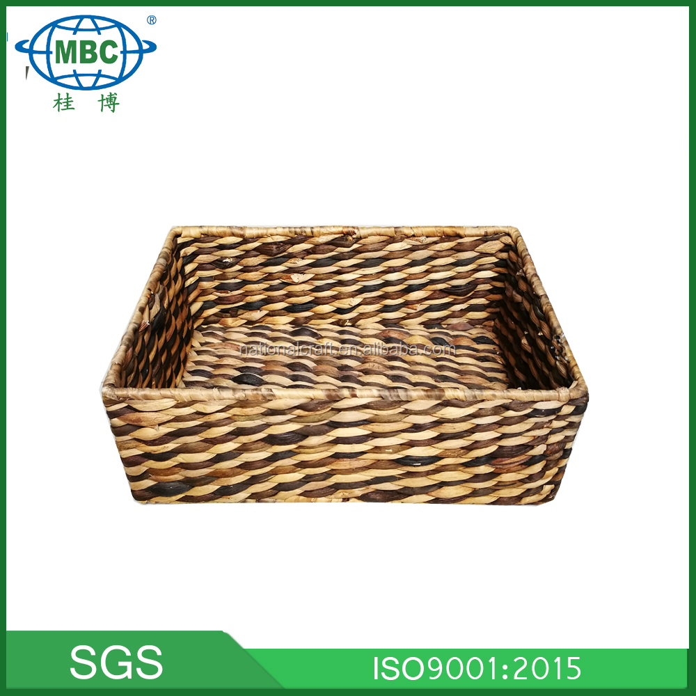 water hyacinth with iron frame oblong shape storage basket