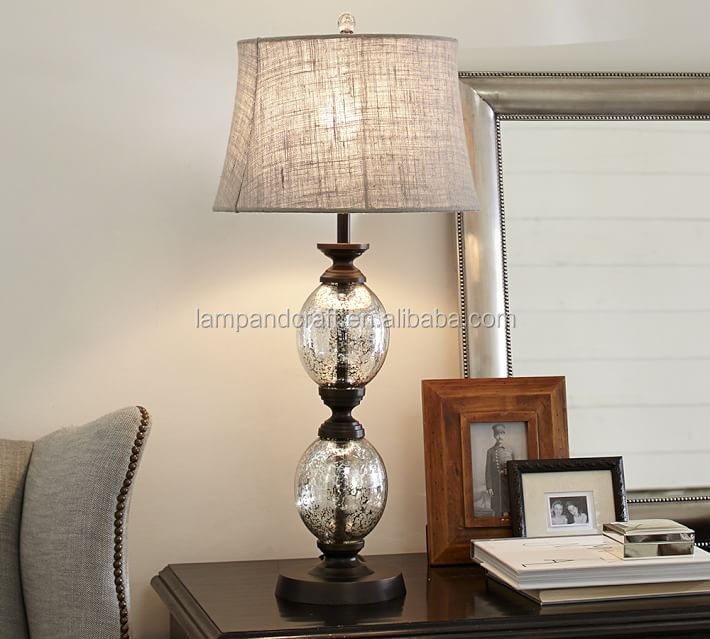 Retro Ul Stacked Mercury Glass And Bronze Table Lamp With Gray Linen Lamp Sha