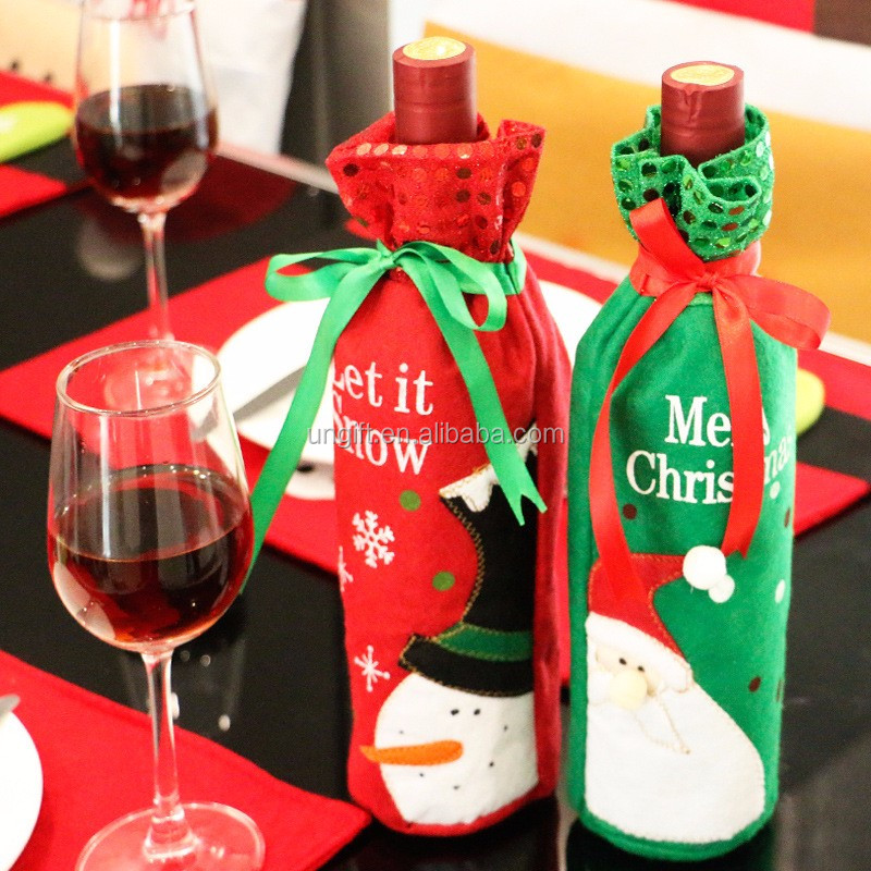 Christmas Wine Bottle Set Santa Claus Button Decor Bottle Cover Cap Clothes Kitchen Decoration for New Year Xmas Dinner Party