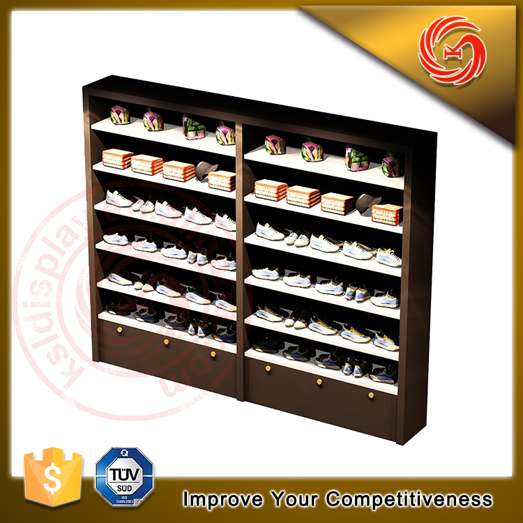 Top sales nice wooden wall mount shoe display shelf
