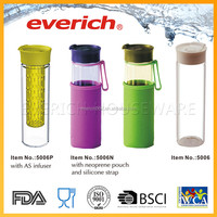 Glass Water Bottle With Fruit Infuser And Silicone Strap