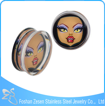 Women Face Acrylic Ear Tunnel Plug Body Piercing Ornaments Body Expander