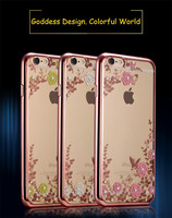 Lovely 3D Soft TPU Cystal Beads Cell Phone Case For iPhone 6/6 plus Wholesale