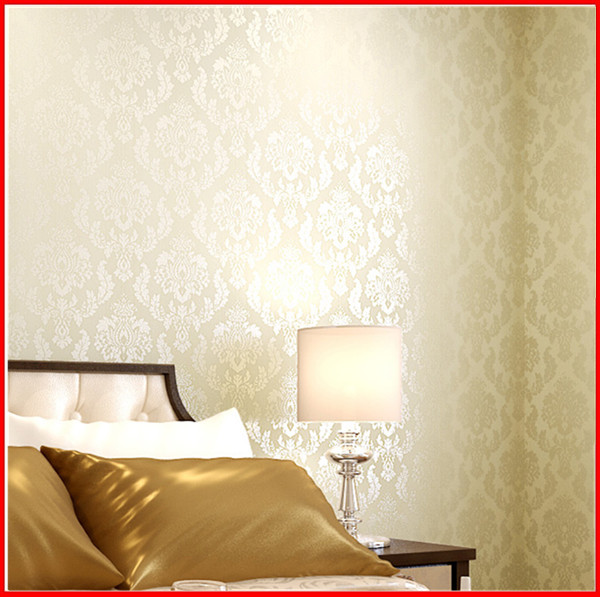 Damask Design European Style Non-woven Glitter Wall Covering
