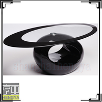 oval glass top with fiberglass bottom