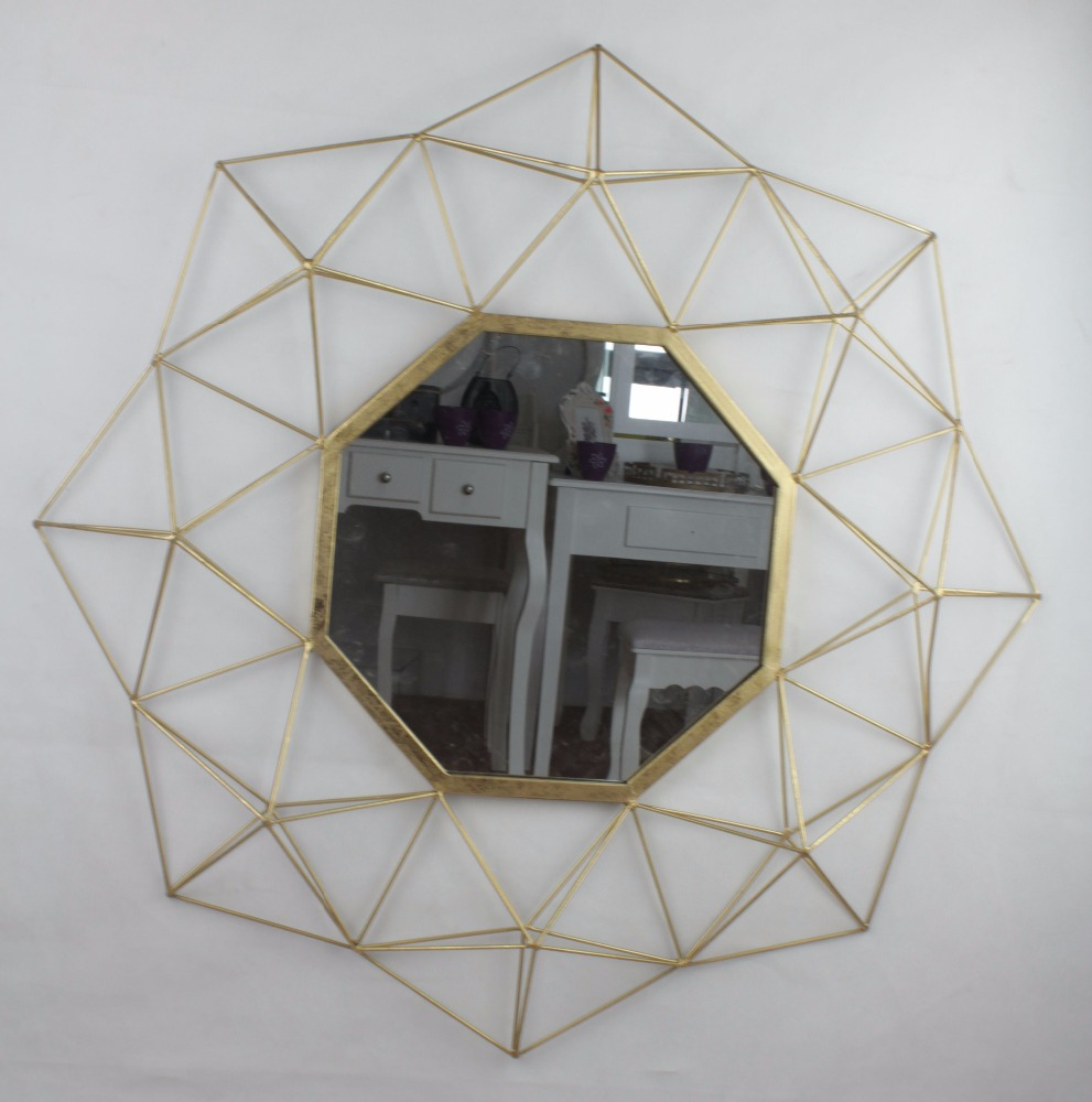 Metal Round Wall Mirror Lattice Design Frame Gold