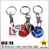 Promotional cheap custom design metal shopping trolley coin keyring