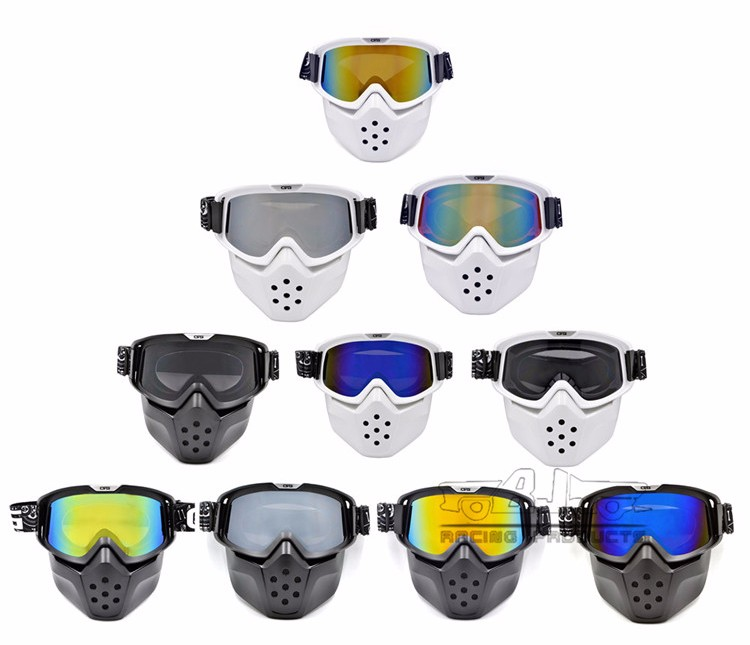 BJ-MG-024 Motorcycle Adult Flexible Goggles Nose Face Protective glass