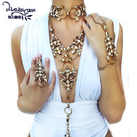 Dvacaman Brand 2017 New Unique Crystal Body Chain Rhinestone Wedding Party Statement Necklace Choker Collar Jewelry BijouxK24