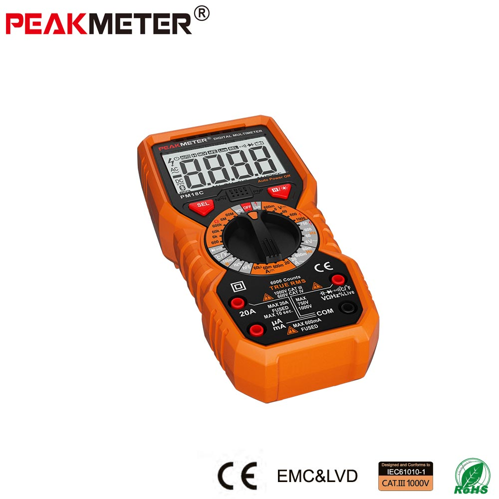 Professional 6000 Counts Digital Multimeter with Frequecy Capacitance 20A AC DC Voltage Current Test