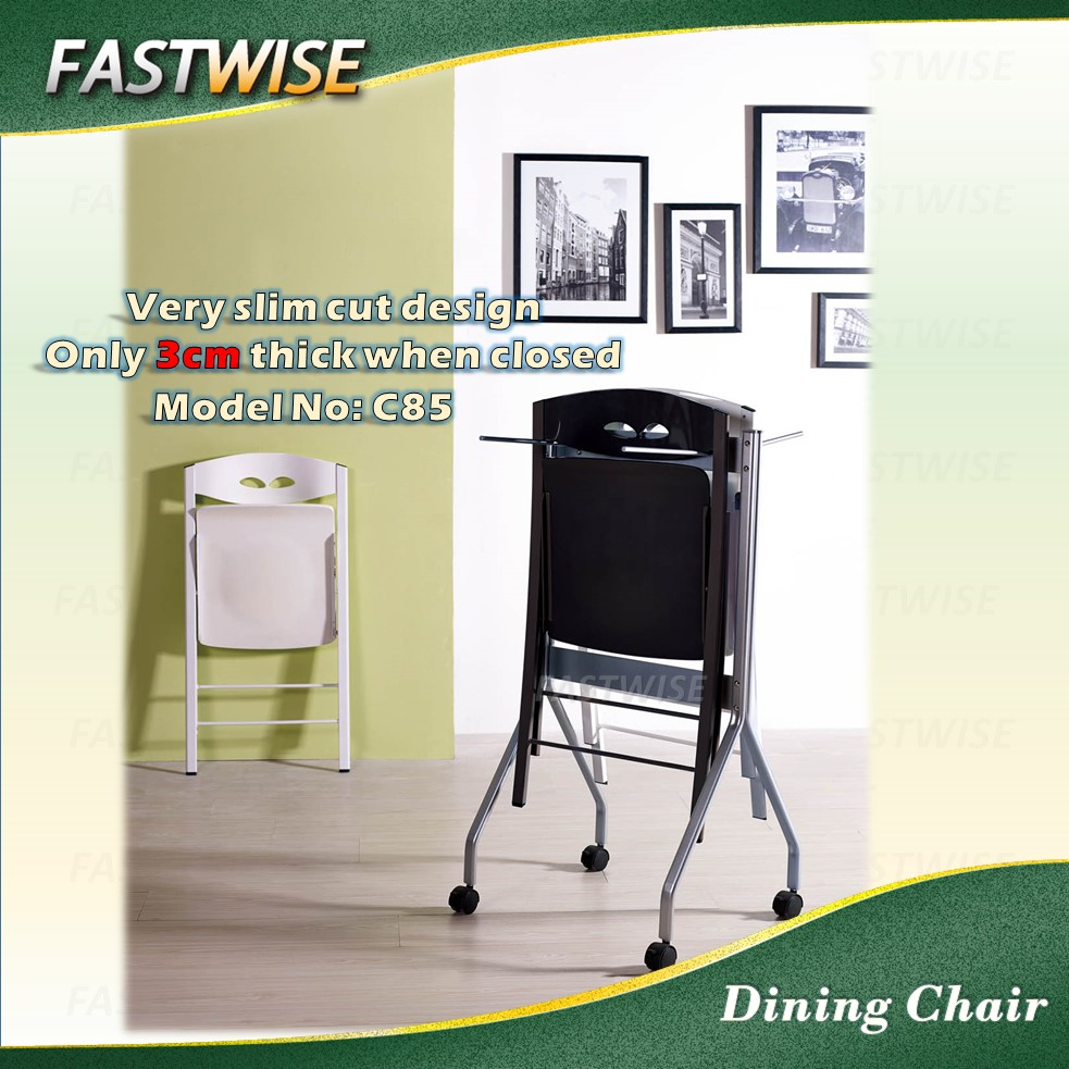 gloss white very slim cut space saving design dining chair for dining room