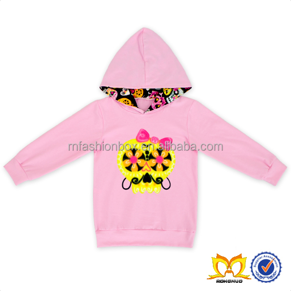 Valentines Childrens Boutique Clothing Fall 2016 Light Pink Sweater Printed Colorful Skull With Pink Bow Girls Clothes Wholesale