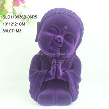 Indoor decors polyresin purple flocked baby buddha statue