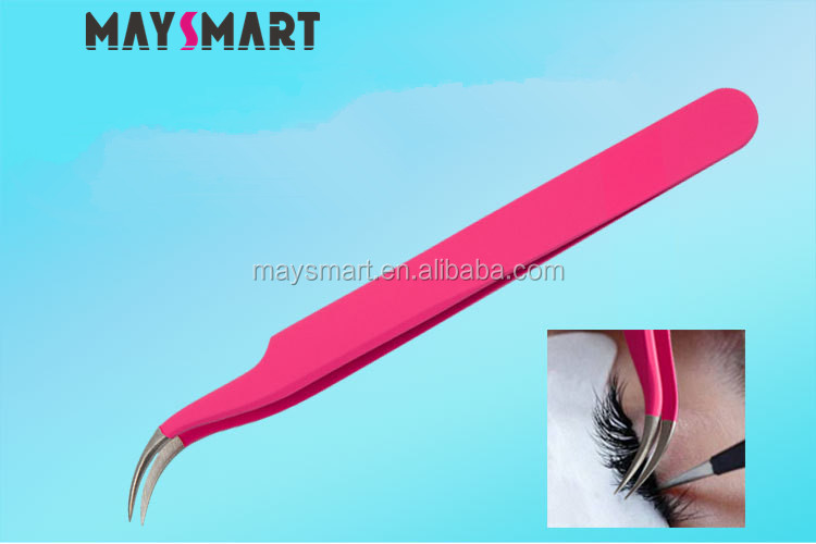 Cheapest Pink Stainless Steel Eyelash Extension Tweezers
