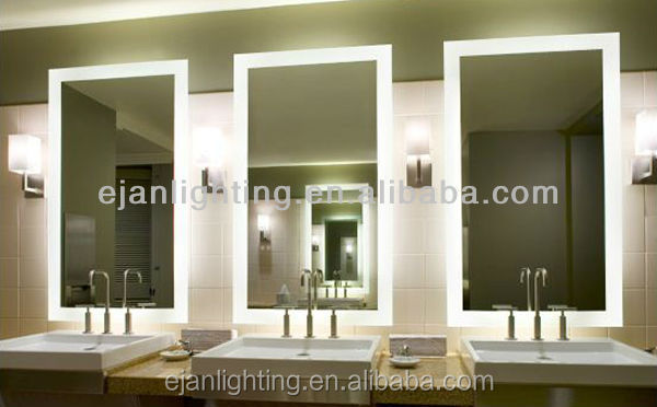 Rectangle Shape And Illuminated Feature Frameless IP44 Bathroom Led Five Star Hotel Mirror
