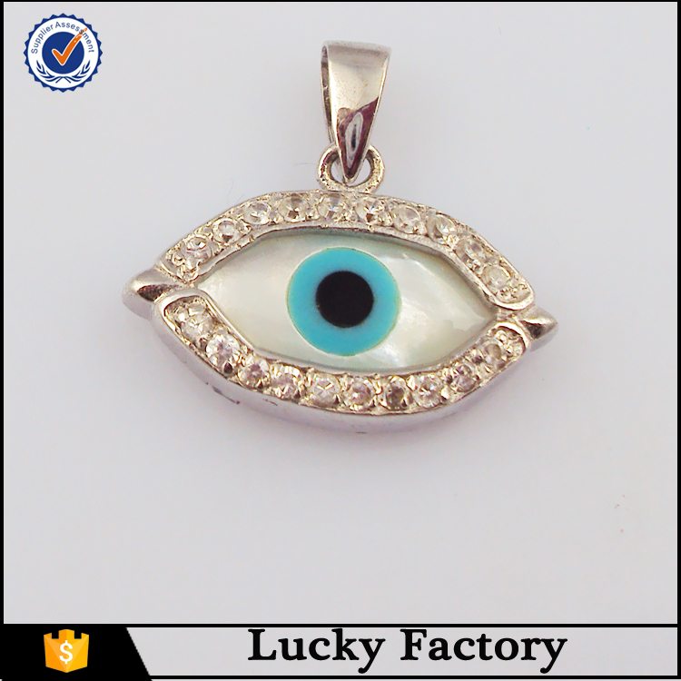 Fashion zircon covering evil eye pendant