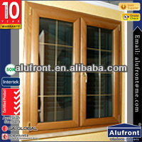 high quality Aluminum clad wood double sashes opening inward fly screen window for resident