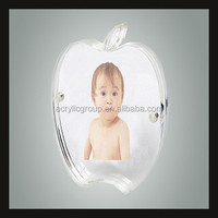 Crystal Apple Shaped Magnetic Clear Acrylic Photo Frame / Baby Naturist Perspex Picture Holder