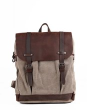 Leather flap canvas backpack 2016 new style canvs back bag form man