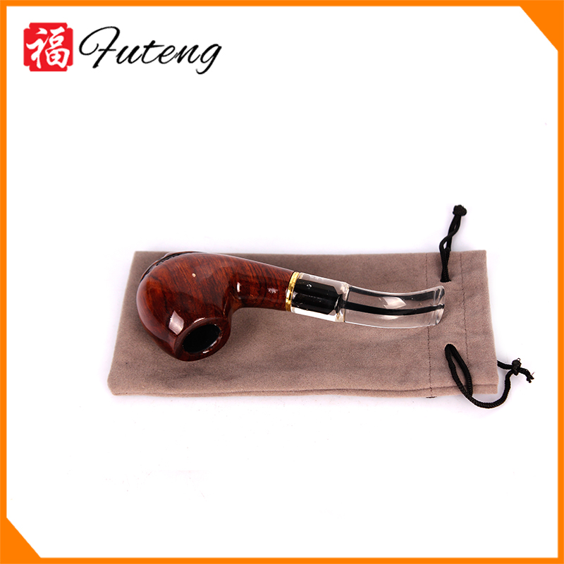 Futeng 1460 Wholesale Solid Wooden Pipes Durable Carved Tobacco Smoking Pipes With Pouch and Stand