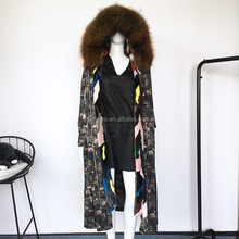2017 Fashion Women Winter Raccoon Fur Hood down Jacket Coat Multi Color Real Mink Fur trim Lined military Parka