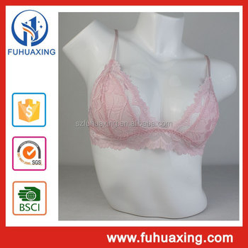 Wholesale China Saxi Girl Pink Triangle Lace Bralette