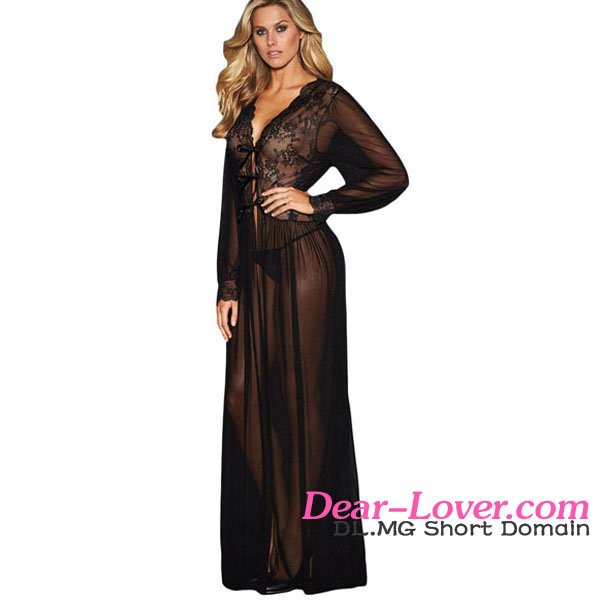 Sexy Women Black Transparent Sheer Long Sleeve Lace Sexy Night Gowns