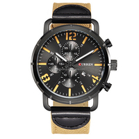 Factory Wholesale Sport Leather Eyes Curren 8194 Design Men Watches with Good Quality