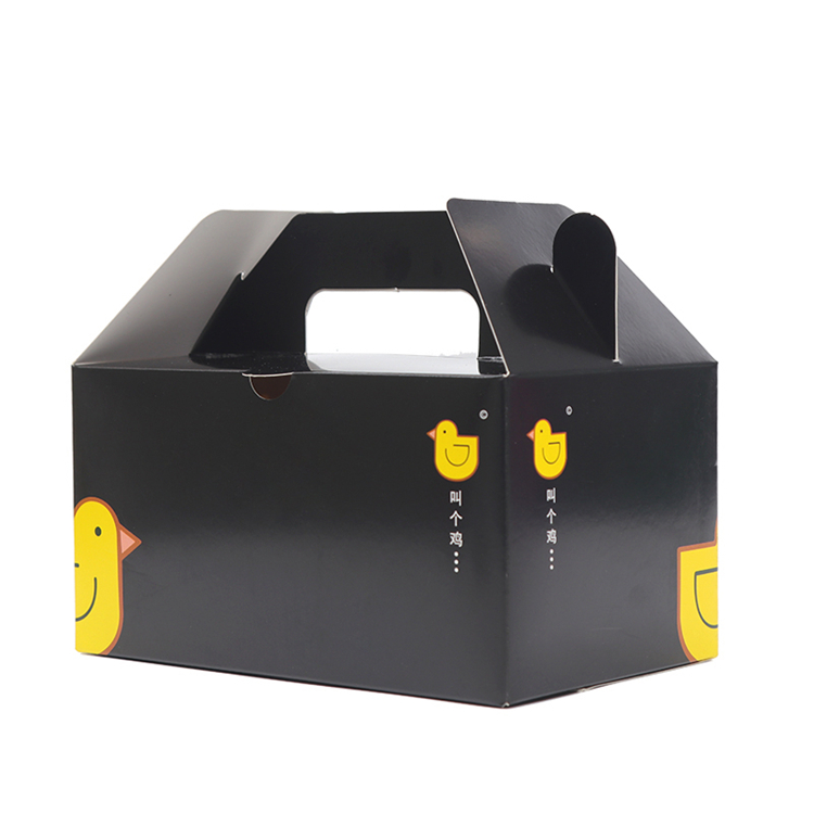 Black fried chicken wing packaging boxes with handle