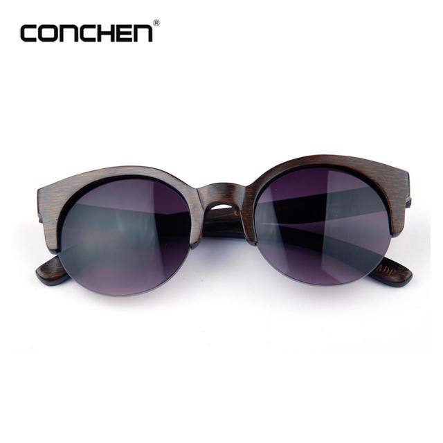 Retro round black bamboo frame gradient lens sunglasses