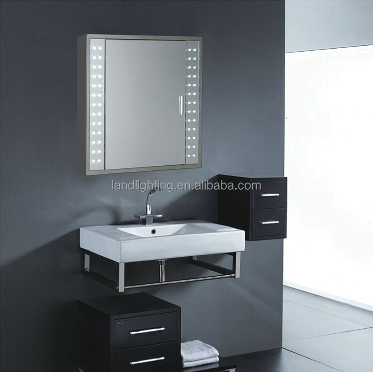 IP44 rated Illuminated backlit bathroom mirror cabinet with shaver sensor demister