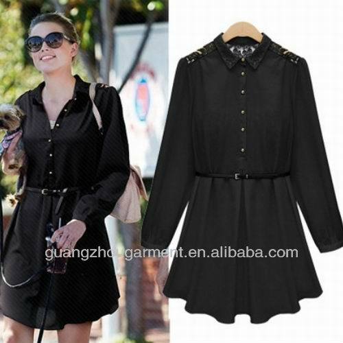 New Autumn European Style Women Peter Pan Collar Chiffon Loose Dress Black XL