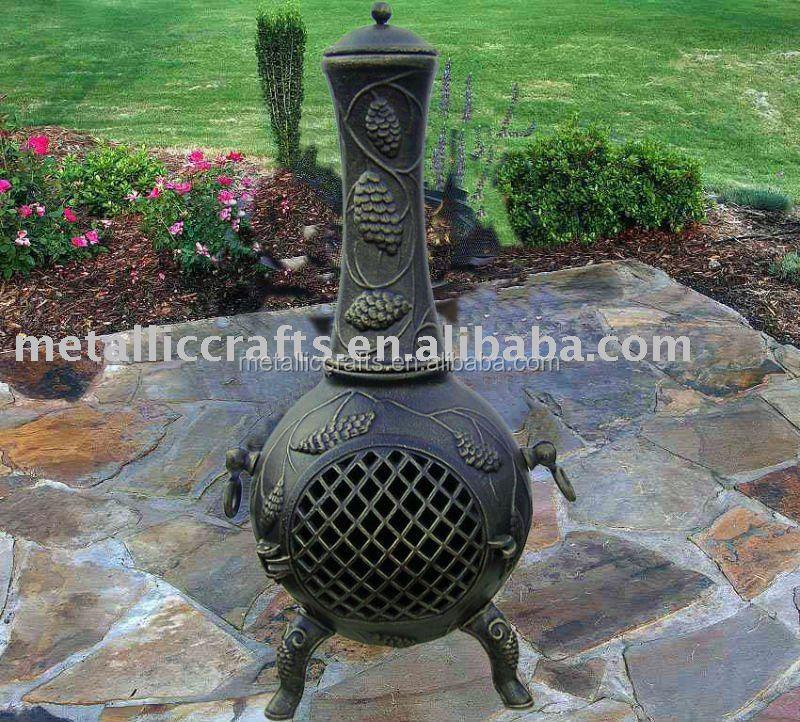 pine cone cast aluminum chimeneas outdoor fireplace cast