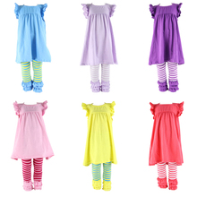 Spring ruffle kids toddler clothes quality children dress clothes children outfit wholesale baby girls mustard pie clothing sets