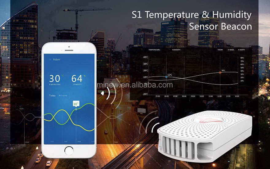 nRF52832 S1 temperature, humidity , accelerometer waterproof bluetooth temperature sensor for Refrigerated containers